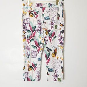 Chicos Floral Butterfly Chino Crop Pants Size 2